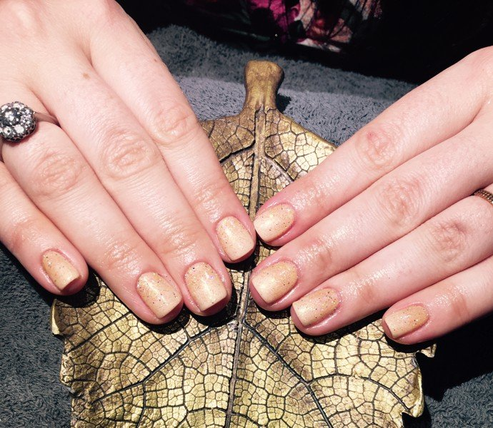 Autumn gold nail salon art