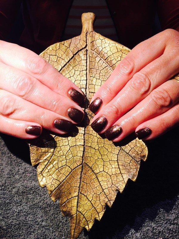 Nail art in autumn dark glitter Surrey