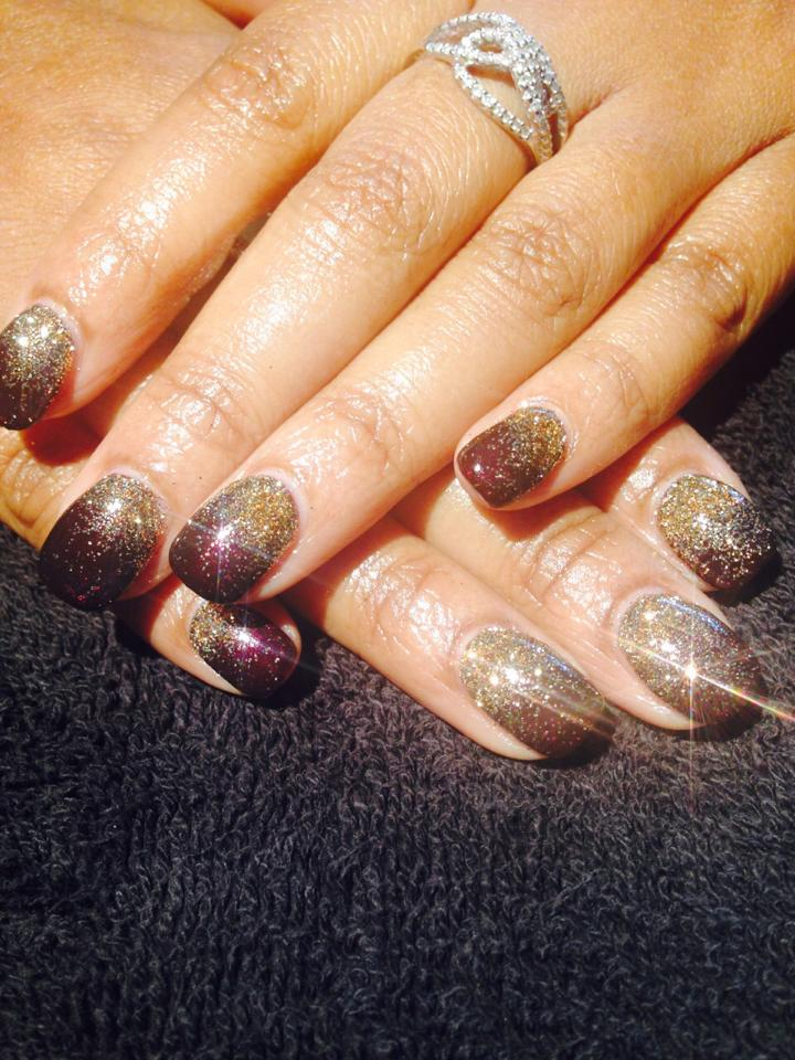 Gold glitter Surrey nail art