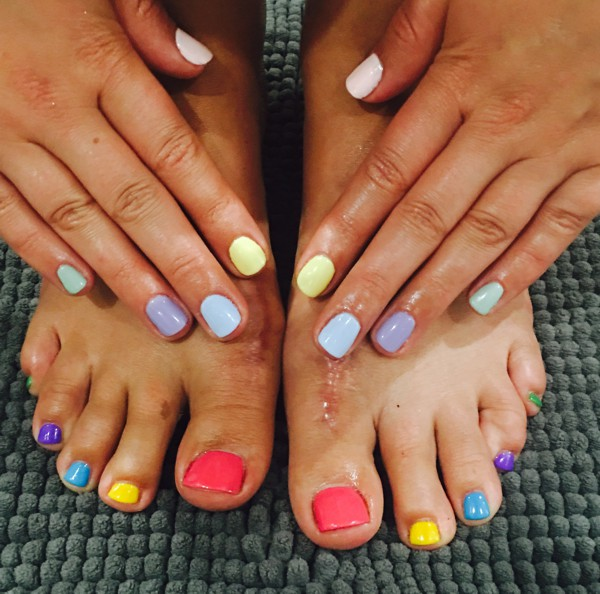 Pedicure and manicure matching nail art