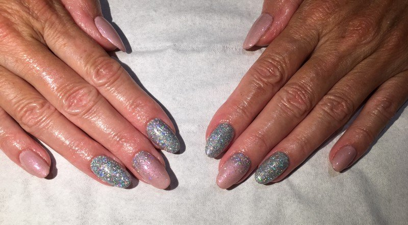 Nails Art Surrey at its best – Pink & Silver Glitter Fade – The Nail ...