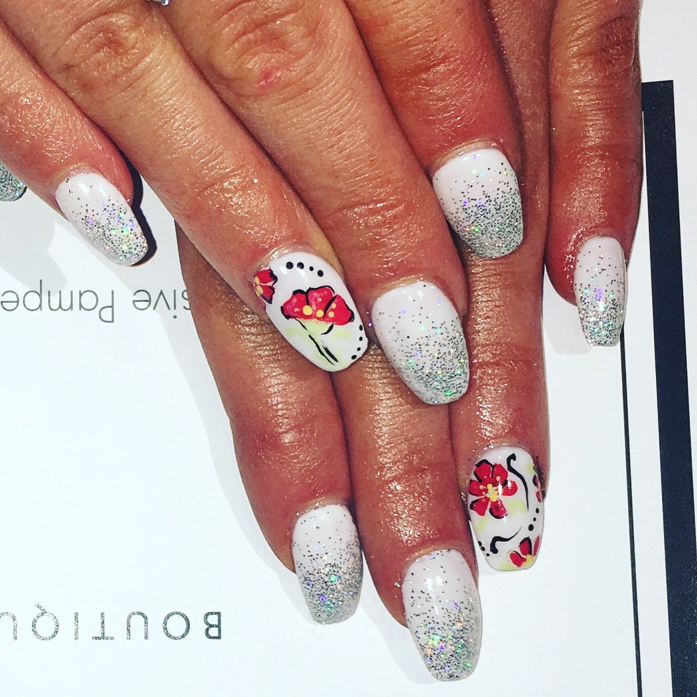surrey nail art with glitter manicure